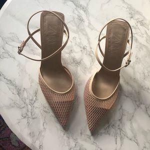 Zara Nude/Pink Mesh Mid-Heel Slingback Size 38